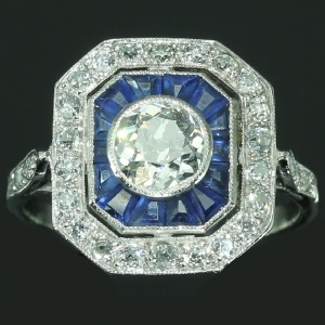 Vintage Blue Sapphire Diamond Engagement Ring Art Deco Jewelry